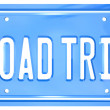 Road Trip Words on Vanity License Plate Holiday Travel — Stock Photo