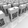 QR Codes on Product Boxes for Scanning Information - ストック写真