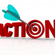 Action Target Bulls-Eye Word Urgent Need to Act Now — Stock Photo