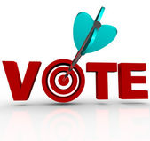Vote Arrow in Word 3D Targeting Voters Election — Stock Photo
