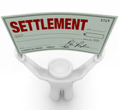 Man Holding Big Settlement Check Agreement Money — Stock Photo