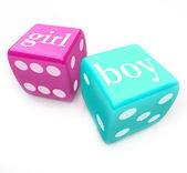 Roll the Dice - Deliver Boy or Girl Baby in Pregnancy — Stock Photo
