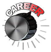 Career Volume Knob Turned to Highest Level to Succeed — Stock Photo