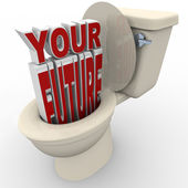 Your Future Flushing Down Toilet Prospects at Risk — Stock Photo