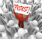 Demonstration Man Holds Protest Sign Movement for Change — Stock Photo