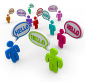 Diverse Saying Hello Greeting in Speech Bubbles — Foto de Stock