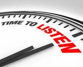 Tijd om te luisteren woorden op klok - horen en begrijpen — Stockfoto
