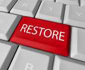 Restore Key on Computer Keyboard - Save or Salvage Rescue — Stock Photo