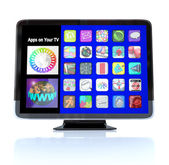 Apps Icon Tiles on High Definition Television HDTV — Stockfoto