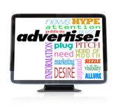 Inzerovat marketingové slov na hdtv televizi — Stock fotografie