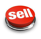 Sell Word on Red Round Button Seller Offers Merchandise for Sale — Stock Photo