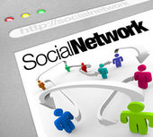 Social Network on Internet Connected by Arrows — Stock Photo