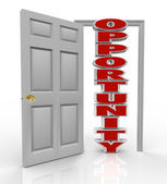 Opportunity Knocks Door Opens to New Growth and Chances — Stock Photo