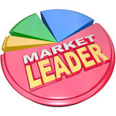 Market Leader - Biggest Slice Portion of Pie Chart Shares — Stock Photo