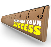 Measure Your Growth Ruler to Review and Assess Progress to Goal — Stock Photo