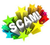 3d слово мошенников мошенничество con игру, чтобы обмануть вас из денег — Стоковое фото