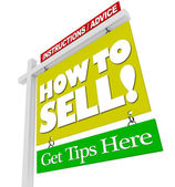 Home for Sale Sign - How to Sell Advice Information — Stock Photo
