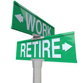 Beslut att gå i pension eller fortsätta arbeta - pension vägskylt — Stockfoto