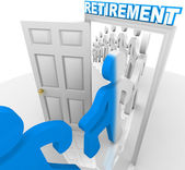 Stepping Through the Retirement Doorway to Retire — Stock Photo