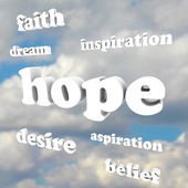 Hope Words in Sky Faith Belief Inspire Aspirations — Stock Photo