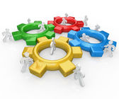 Team of Push Gears Together Teamwork Success — Stock Photo