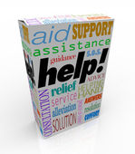 Help Assistance Words on Product Box Customer Support — Stock Photo