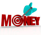 Money Arrow in Target Bulls-Eye Earn Riches Reach Goal — Stockfoto