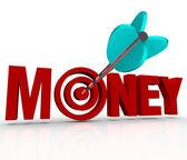 Money Arrow in Target Bulls-Eye Earn Riches Reach Goal — Stock Photo
