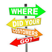 Where Did Your Customers Go Signs - Finding Lost Customer Base — Foto de Stock
