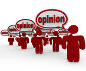 Many Sharing Opinions Critics Talking Word Opinion — Zdjęcie stockowe