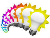 Colorful Light Bulbs Thinking of Innovative Ideas — Stock Photo
