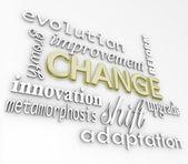 Cambio palabras 3d evolucionan mejorar crecer para el éxito — Foto de Stock