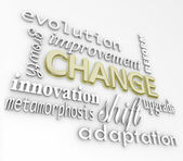 Change 3D Words Evolve Improve Grow for Success — Stok fotoğraf