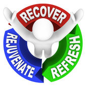 Recover Rejuvenate Refresh Words Self Help Therapy — Stock Photo