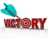 Victory Arrow in Word Succeed Triumph in Competition — Stock Photo