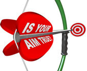 Is Your Aim True? Question on Bow and Arrow Target — Stock Photo