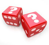 Question Marks on Two Red Dice Uncertain Fate — Stock Photo