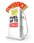 Confidence Fuel Up Succeed Gas Pump Powers Confident Attitude — Stock Photo