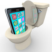 Smart Phone in Toilet Frustrated Old Model Obsolete — Stock Photo