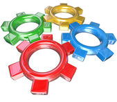 Four Colorful Gears Turning Together in Unison - Teamwork Synerg — Stock Photo