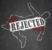 Rejected Person Chalk Outline Denied and Refused — Foto Stock