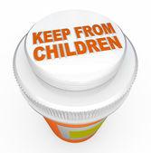 Impedir que los niños la medicina a prueba de niños advertencia la tapa de la botella — Foto de Stock