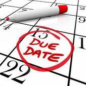 Devido o calendário data circulou por gravidez ou projeto de conclusão — Foto Stock