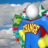Change Superhero Looks to Future of Changing and Adapting — Stock Photo