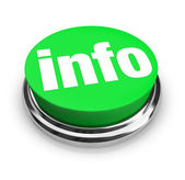 Info Word on Green Round Button - Get More Details — Stock Photo