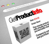 QR Code - Web Screen Website of Product Information — Stock Photo