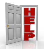 Hjälpa dörröppning till stöd och hjälp — Stockfoto