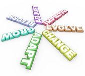 Mudança adaptar evoluir 3d palavras sobre fundo branco — Foto Stock