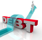 Getting Over Debt Overcome Financial Problem Crisis — Stock Photo