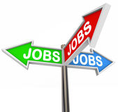 Jobs Street Signs Pointing Way to New Job Career — Stock Photo